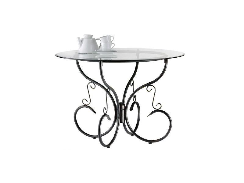 Table de cuisine salle manger ronde en verre et acier - Conforama table de salle a manger en verre ...