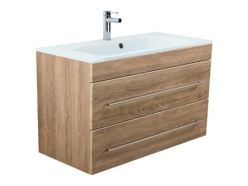 Meuble Salle De Bain Vitro 1000 Avec Vasque En Verre En Décor Chêne