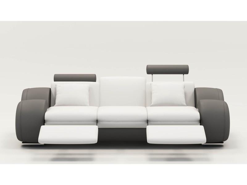 Canapé design 3 places cuir blanc et gris + têtières relax oslo-