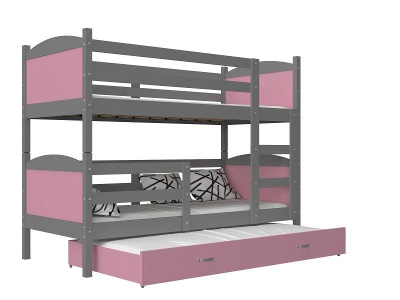 lit superpos 3 places mateo 190x90 gris rose livr avec. Black Bedroom Furniture Sets. Home Design Ideas