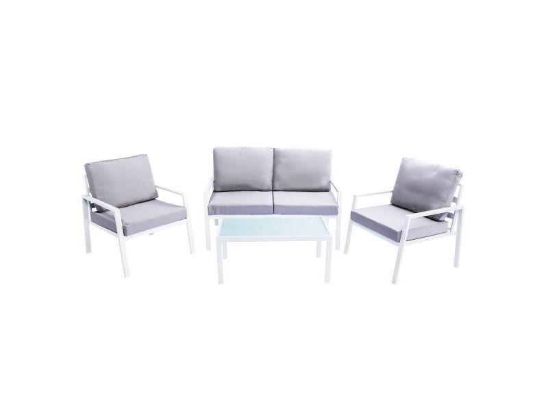 Salon De Jardin En Métal Blanc Avec Table Banc Et 2 Fauteuils Cala