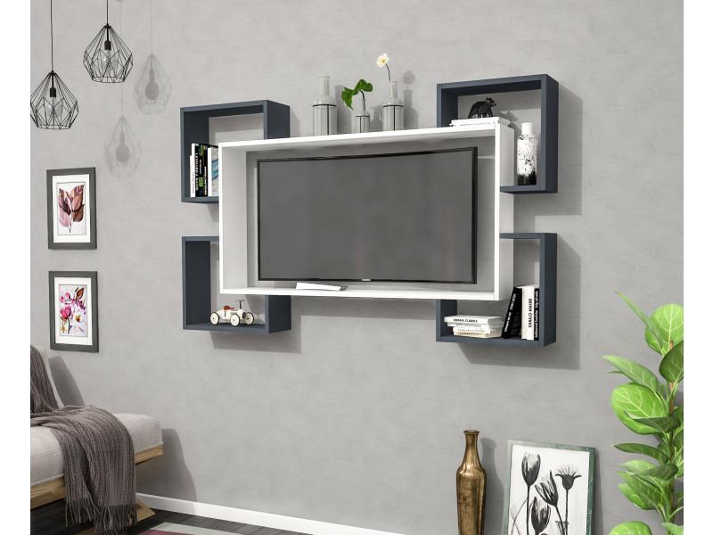 Meuble tv design wrap blanc et gris anthracite