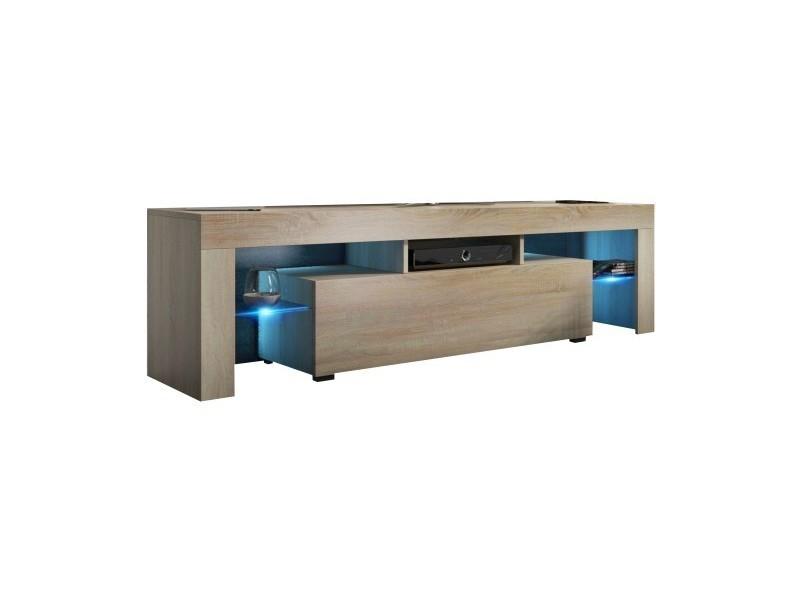 Meuble tv mdf 160 cm couleur chêne avec led