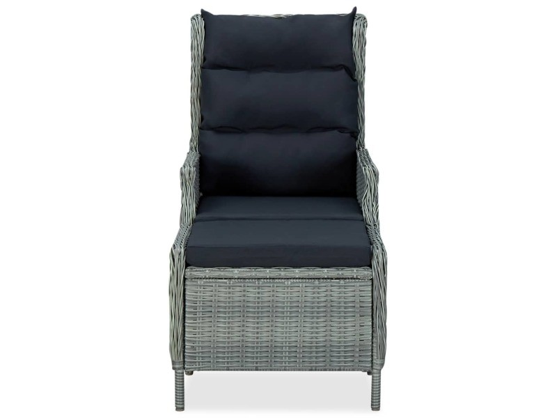 Vidaxl chaise inclinable de jardin tabouret résine tressée gris clair