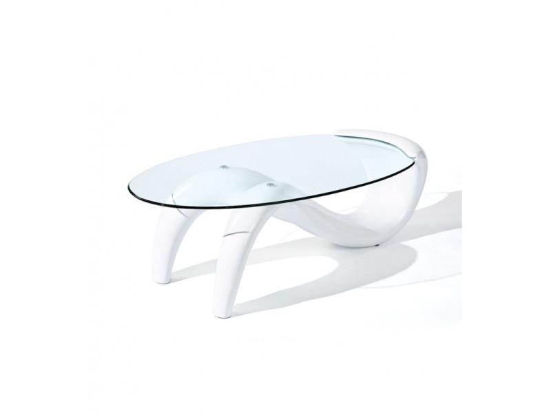 Table basse blanche plateau verre trempé - cassis