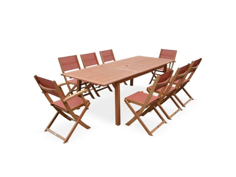 Salon de jardin en bois almeria, grande table 180-240cm ...