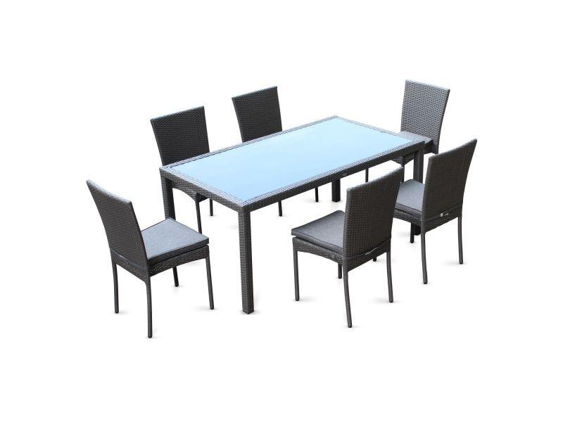 Salon de jardin en résine tressée 6 chaises, gris, table d ...