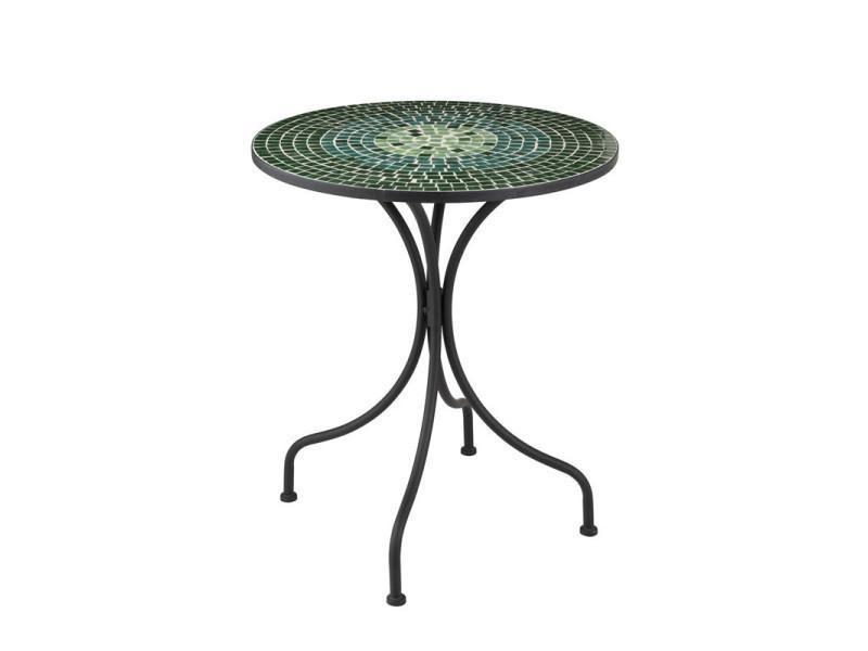 Table ronde métal/mosaïque verte - newia n°1 - l 61 x l 61 x h 71 ...