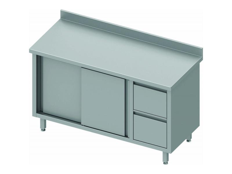 Meuble bas inox avec dosseret porte coulissante gauche 2 tiroirs gamme 700 stalgast - Meuble bas inox ...