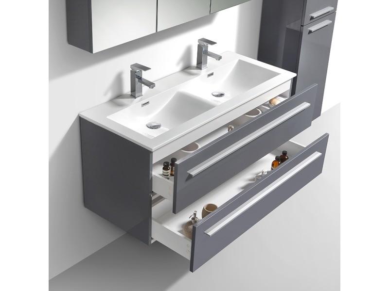 Meuble salle de bain design double vasque siena largeur 120 cm, gris ...