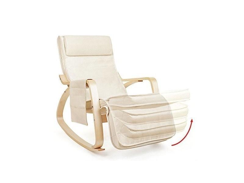 Fauteuil A Bascule Rocking Chair Avec Repose Pieds Reglabl Beige