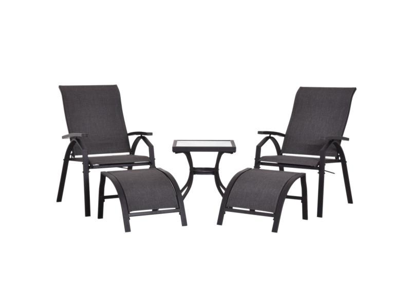 Ensemble salon de jardin 5 pièces : 2 chaises longues ...