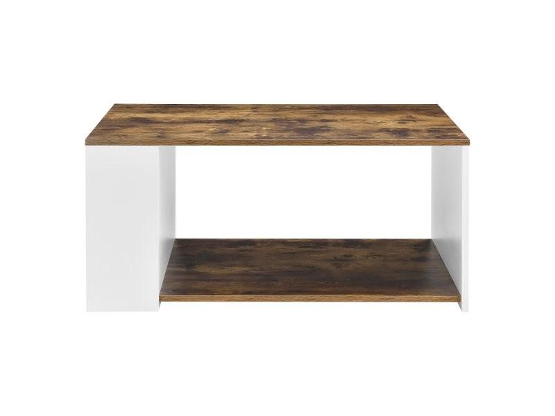 Table basse pour salon meuble rangement panneau de particules mélaminé 90 cm blanc chêne foncé helloshop26 03_0006170