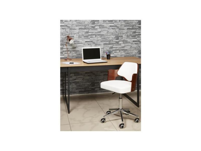 Kiruna chaise de bureau en simili blanc accoudoirs bois