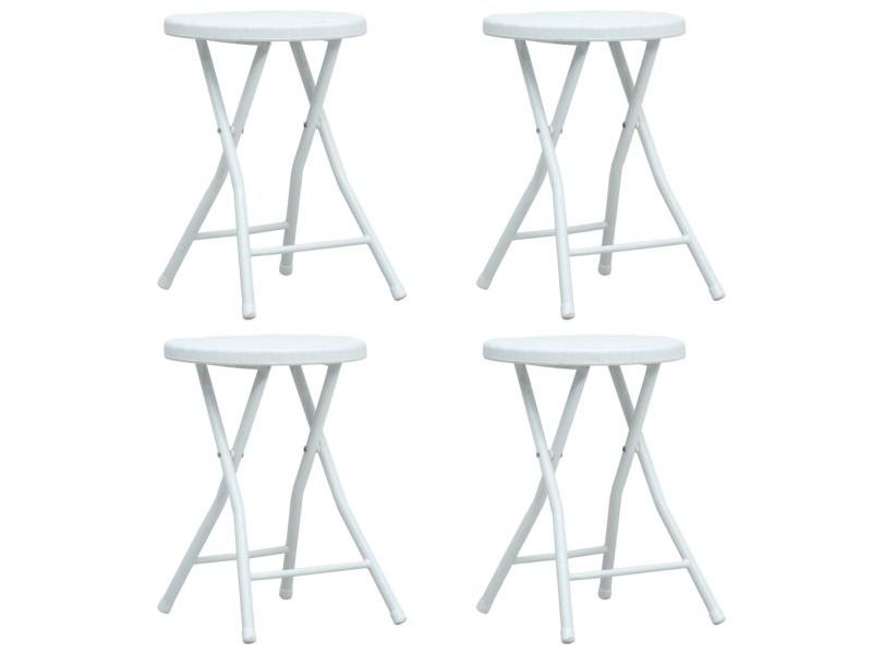 Sublime fauteuils et chaises collection bogota tabourets pliables de jardin 4 pcs blanc pehd aspect de rotin
