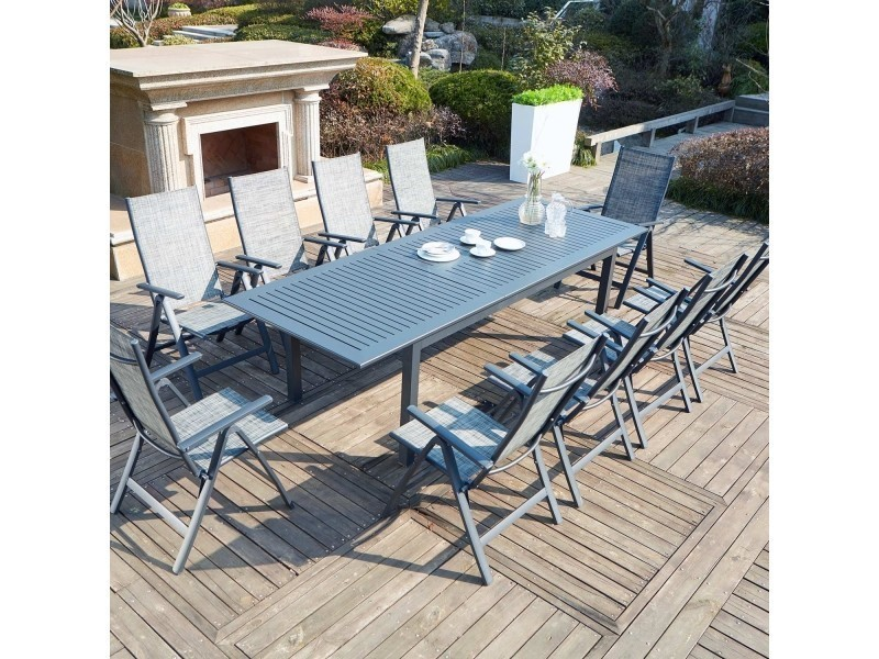 Berana 10 : table de jardin extensible 10 personnes + 10 ...