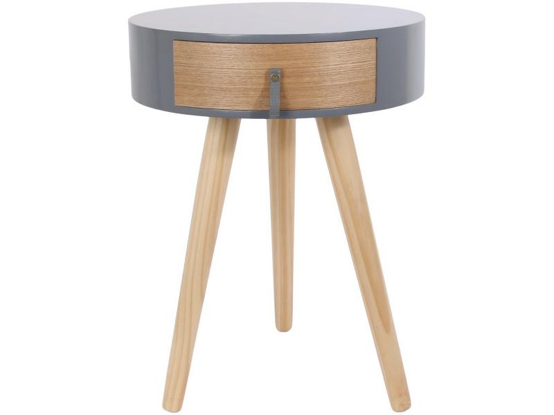 Table de chevet design nora en bois nature déco scandinave gris
