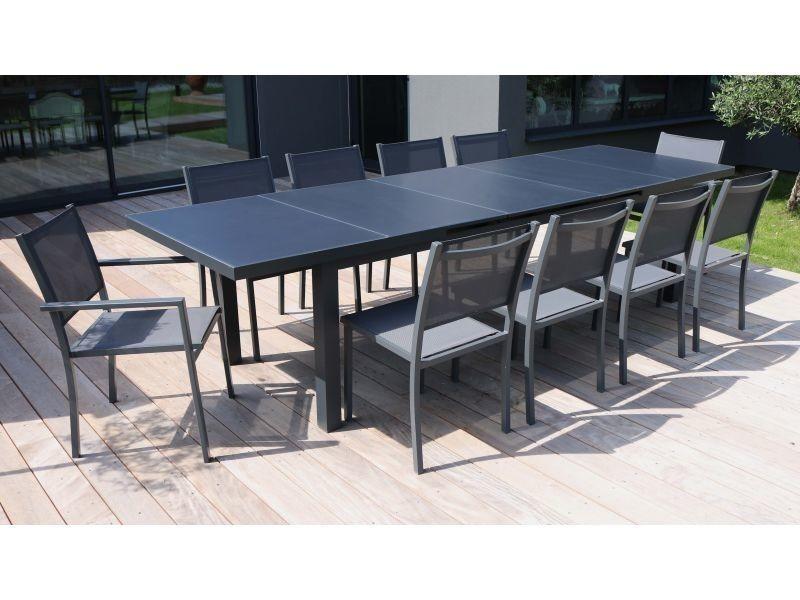 Ensemble table de jardin extensible 256/320 cm et 10 chaises ...