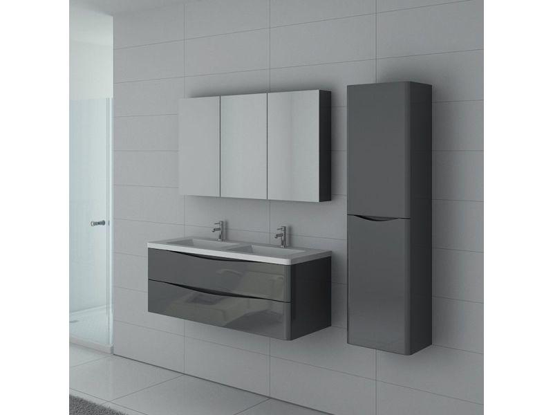 Meuble de salle de bain double vasque trevise 1200 gris taupe ...