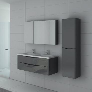 Meuble de salle de bain double vasque trevise 1200 gris - Meuble vasque salle de bain conforama ...