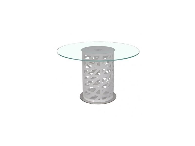 Table à manger 120 cm plateau verre rond diapason