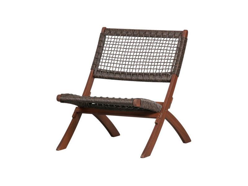 Fauteuil lounge extérieur en bois massif francisco 377162-B