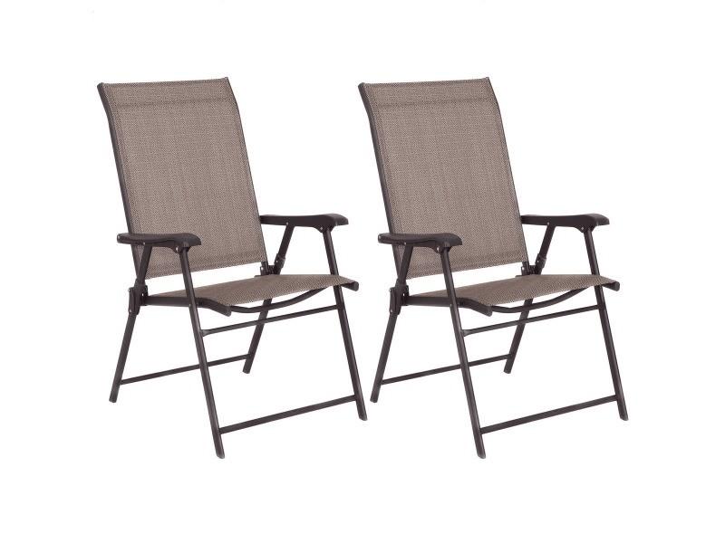 2 chaises de jardin pliantes et portables siège en textilène respirante avec accoudoirs cadre en acier brun 20_0000021