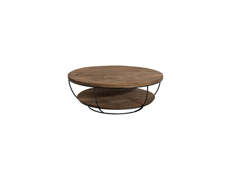 Table basse coque noire double plateau en teck recyclé - appoline