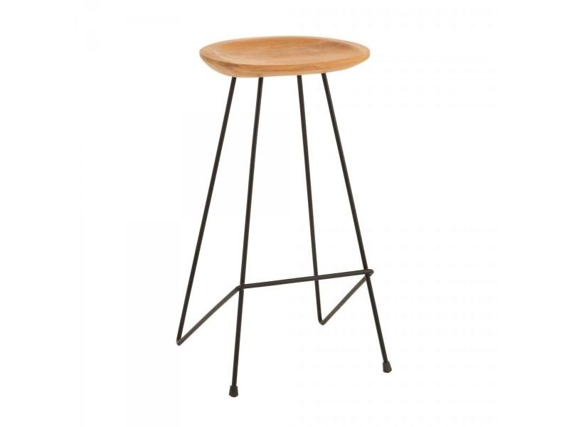 Tabouret minimaliste assise bois de teck sydney 15775