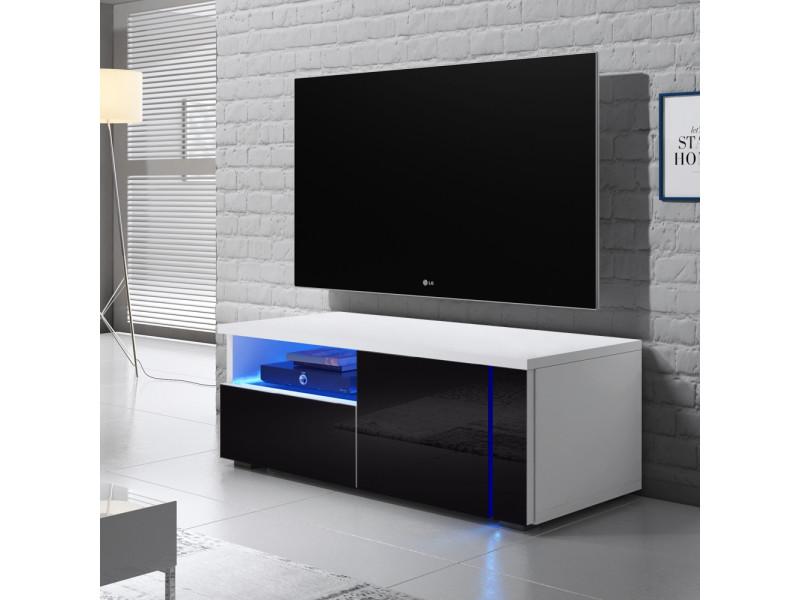 Meuble Tv Oxy Single 100 Cm Blanc Mat Noir Brillant