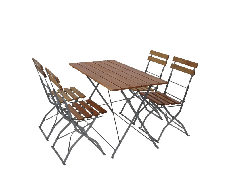 Salon de jardin/brasserie 1 table 4 chaises berlin, pliable ...