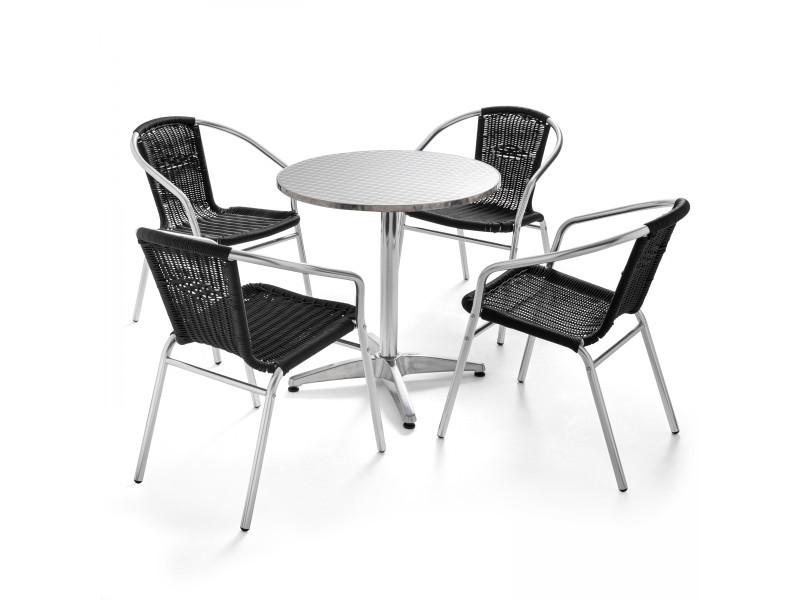 Table de jardin ronde et 4 fauteuils en aluminium et résine ...
