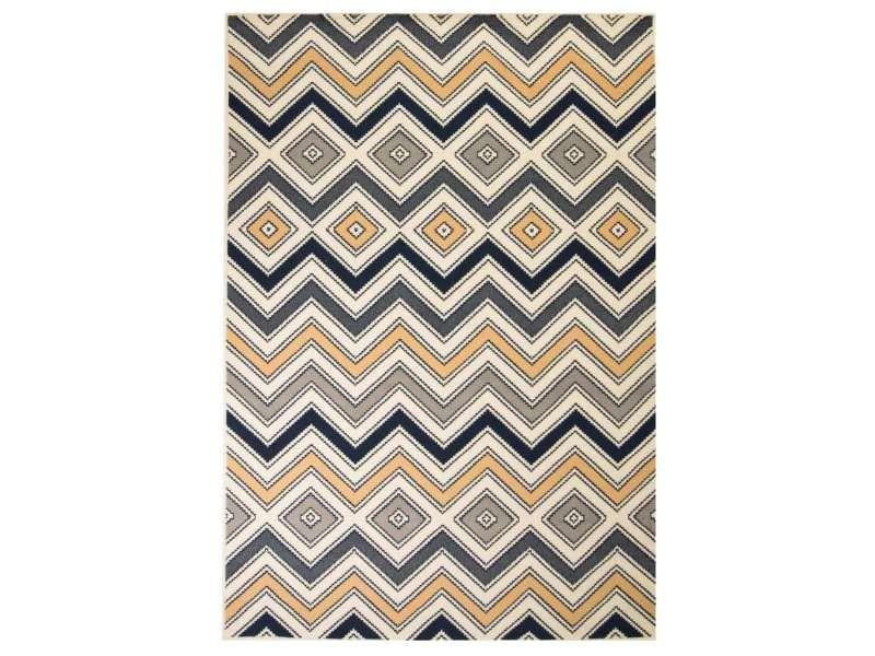 Vidaxl tapis moderne design de zigzag 180 x 280 cm marron/noir/bleu ...