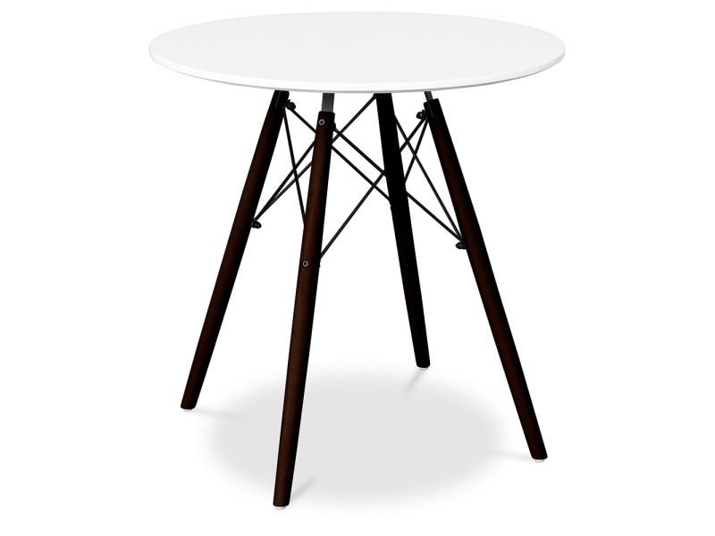 Table geneva 70cm piètement foncé - bois blanc