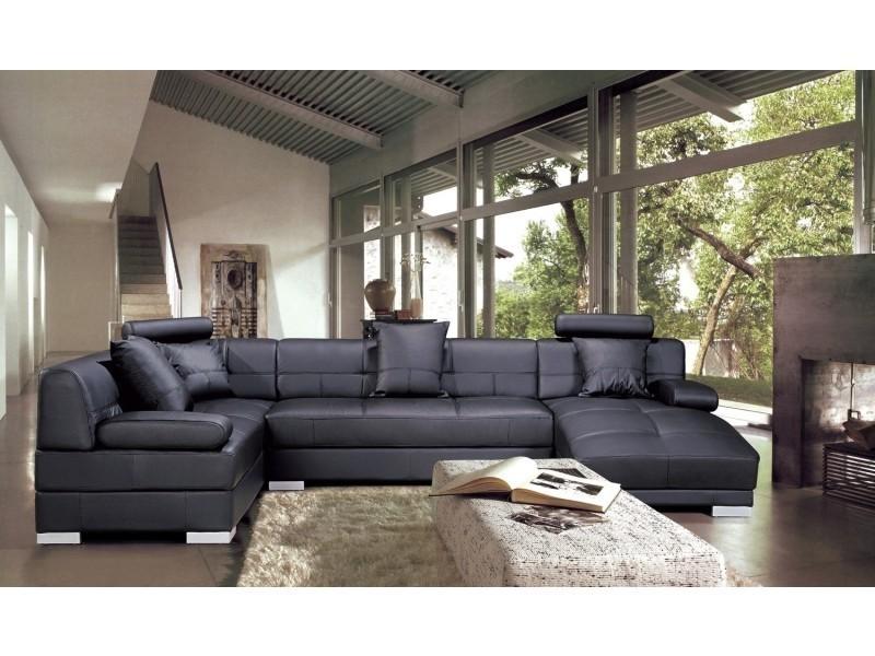 Canapé d'angle capitonné cuir noir + méridienne napoli-