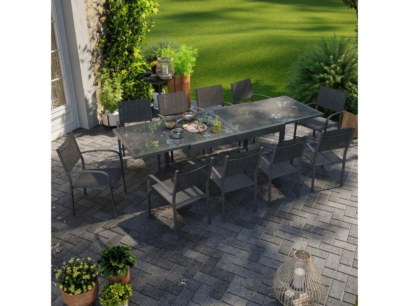 Table de jardin extensible aluminium 270cm + 10 fauteuils empilables textilène anthracite - lio 10
