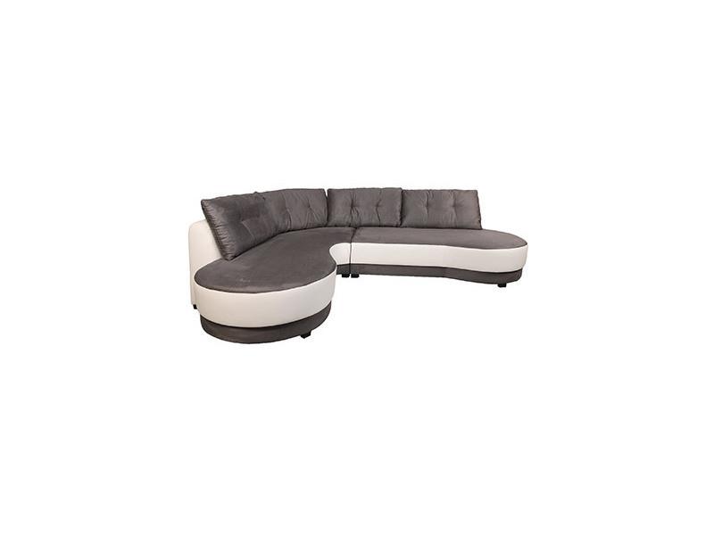 Canapé d'angle à gauche en microfibre noir et blanc - lorraine