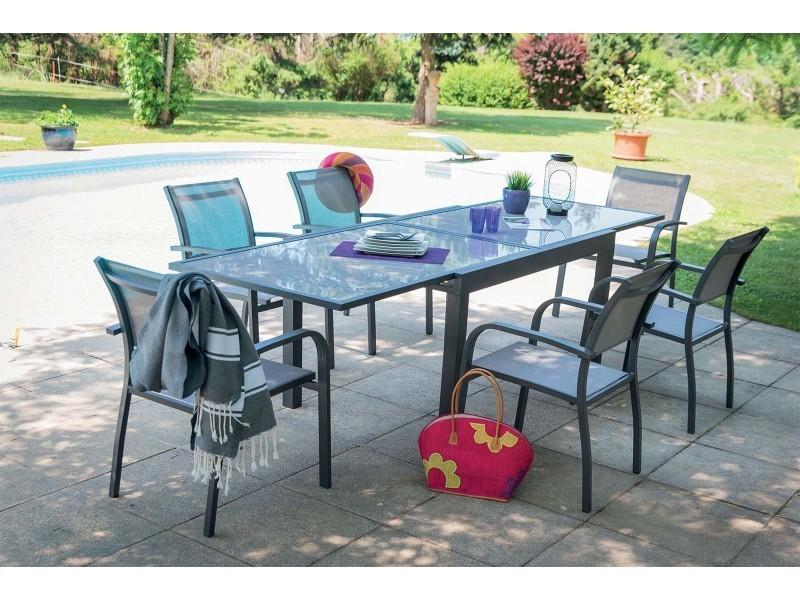 Salon de jardin aluminium et verre 6 fauteuils honfleur - Vente de ...