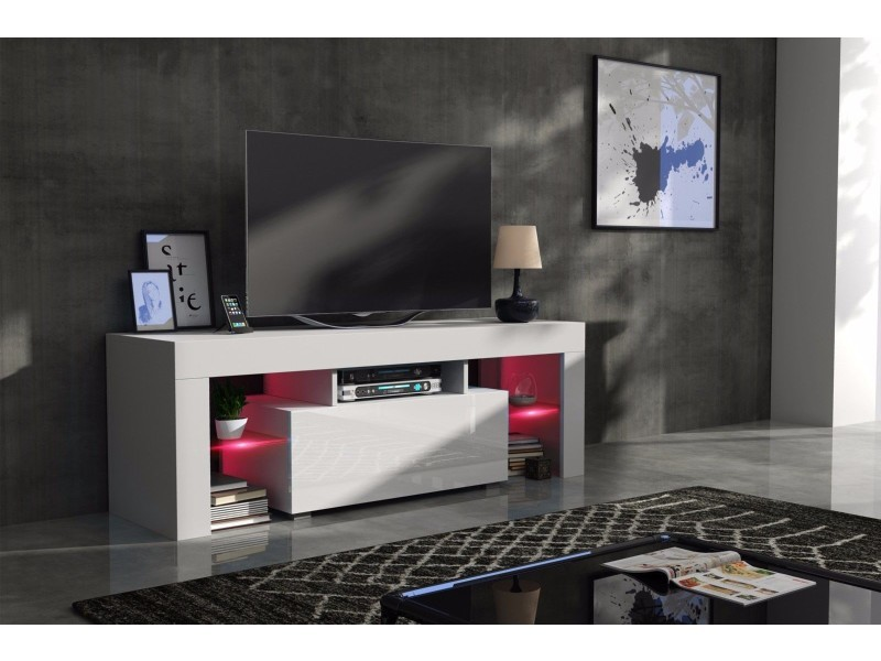 Meuble tv 130 cm corps blanc mat et porte laquée avec led rgb