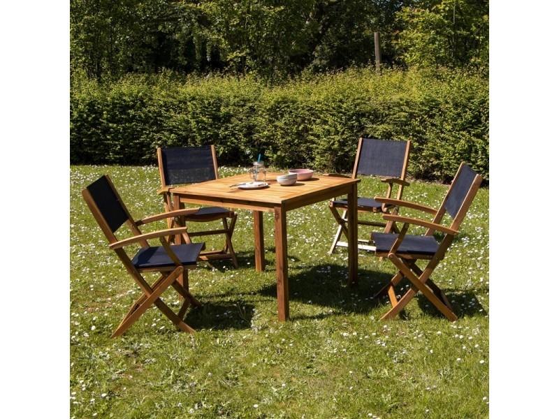 Salon de jardin carré en bois d\'acacia fsc noir 4 places - Vente de ...