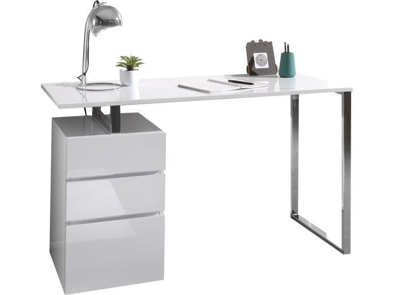 Bureau design avec 3 tiroirs blanc laqué en bois mdf 130 cm de ...