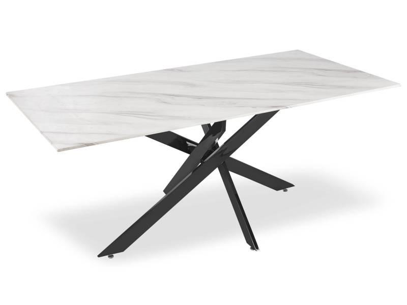 Table à manger naelle en verre effet marbre blanc et pieds noir