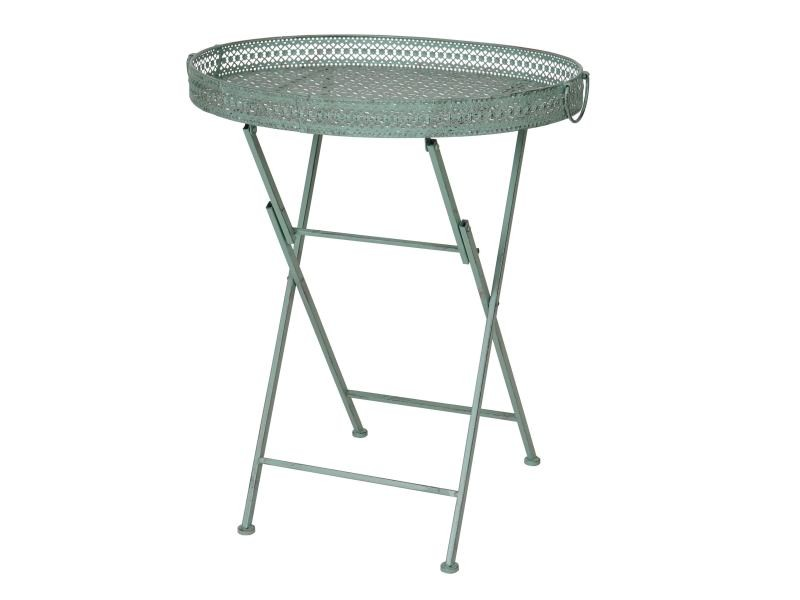 Table pliante hwc-c39, table de jardin, métal, vert antique ...