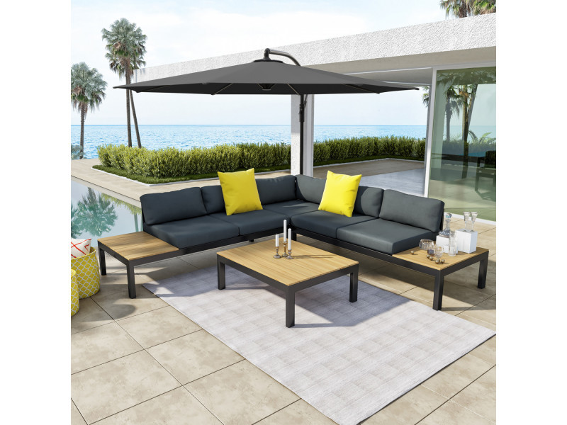 Salon d\'angle de jardin aluminium gris/noir + parasol déporté rond ...