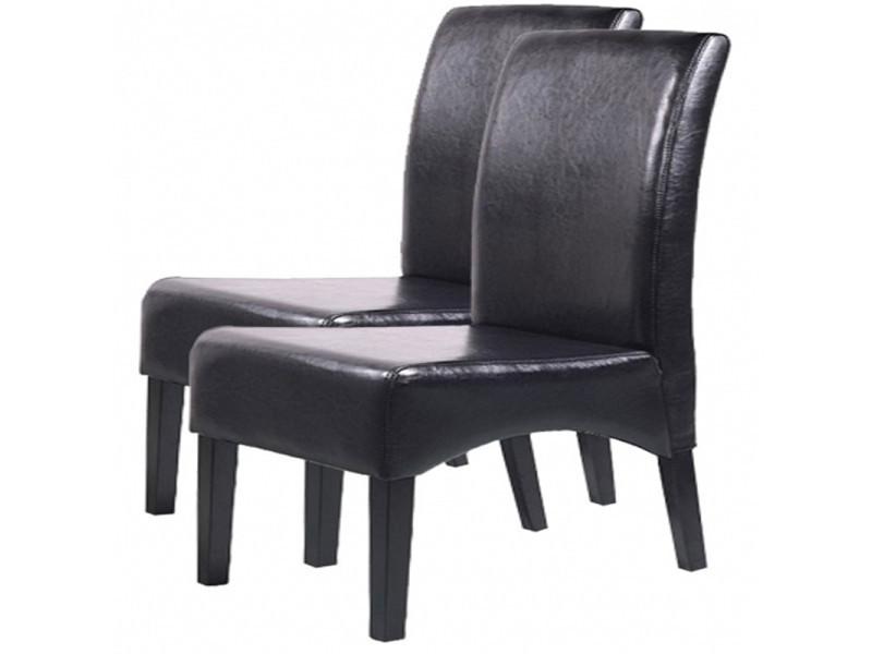 Lot de 2 chaises de salle à manger latina en cuir noir, h 102 x l 44 x p 44 cm -pegane-