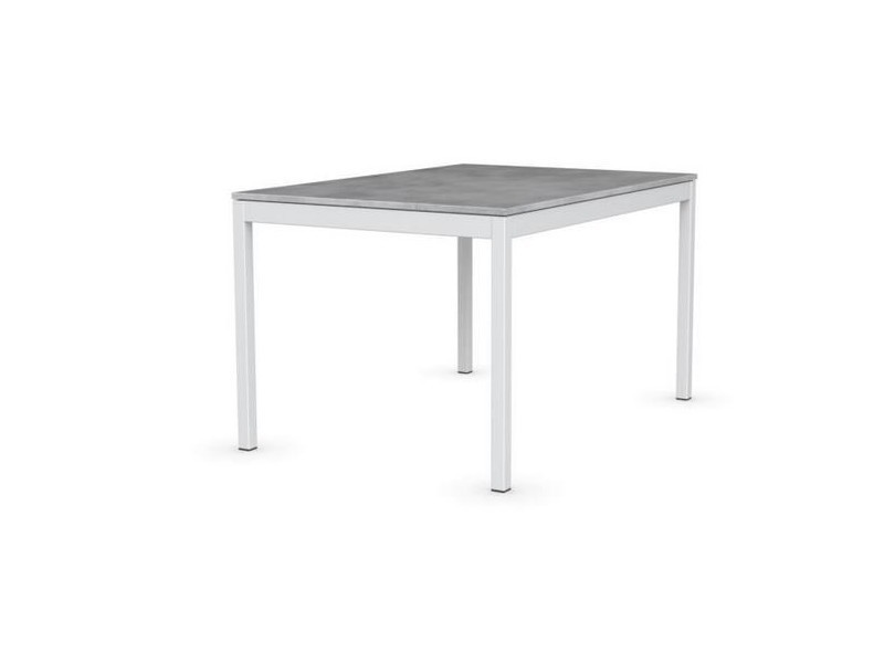 Table extensible snap gris béton piétement laqué blanc 130x90 cm 20100839956
