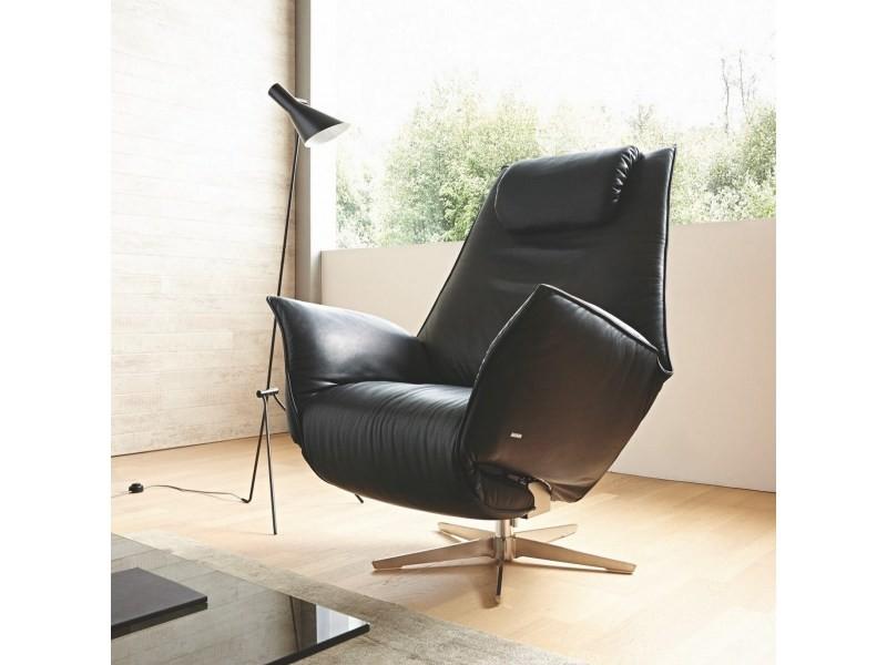 Fauteuil cuir noir de relaxation design lord jm manuel