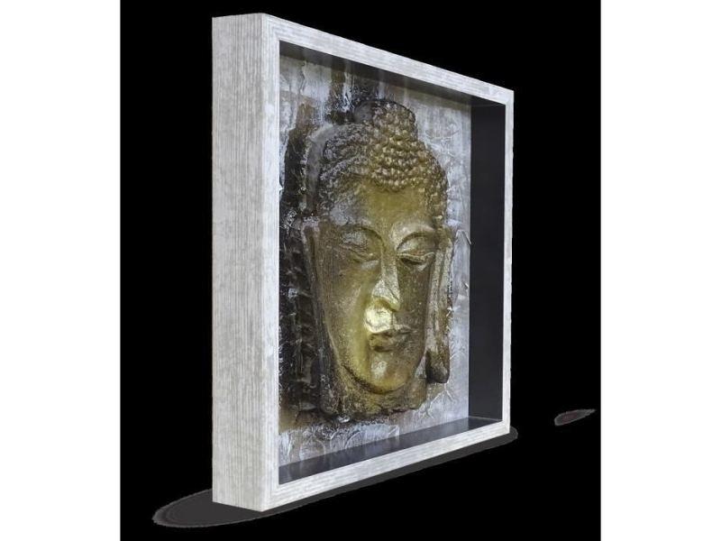 Cadre Photo Bouddha Tableau Déco Cadre Coffre 33x33 Cm Beige Noir