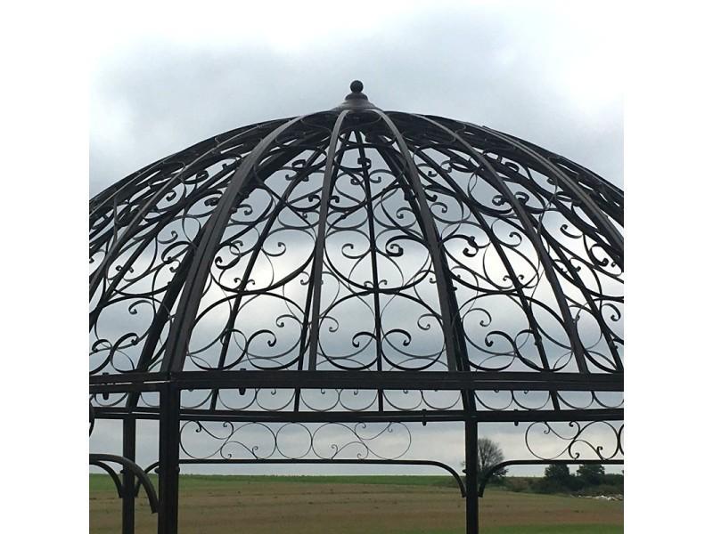 Grande Tonnelle Gloriette de Jardin Fer ø 250 cm Marron