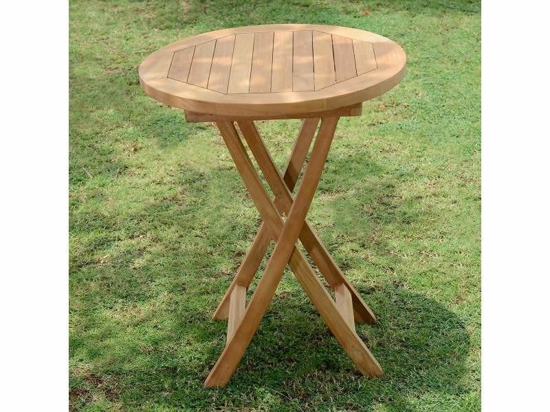 Table de jardin en teck pliable ø 60 cm - bistrot Teck massif de ...
